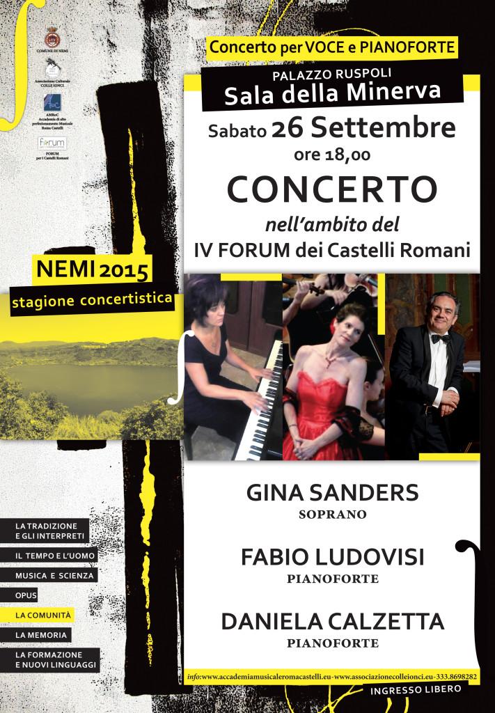 NEMI 26 settembre 2015 ore 18:00 - GINA SANDERS soprano, FABIO LUDOVISI e DANIELA CALZETTA pianoforte