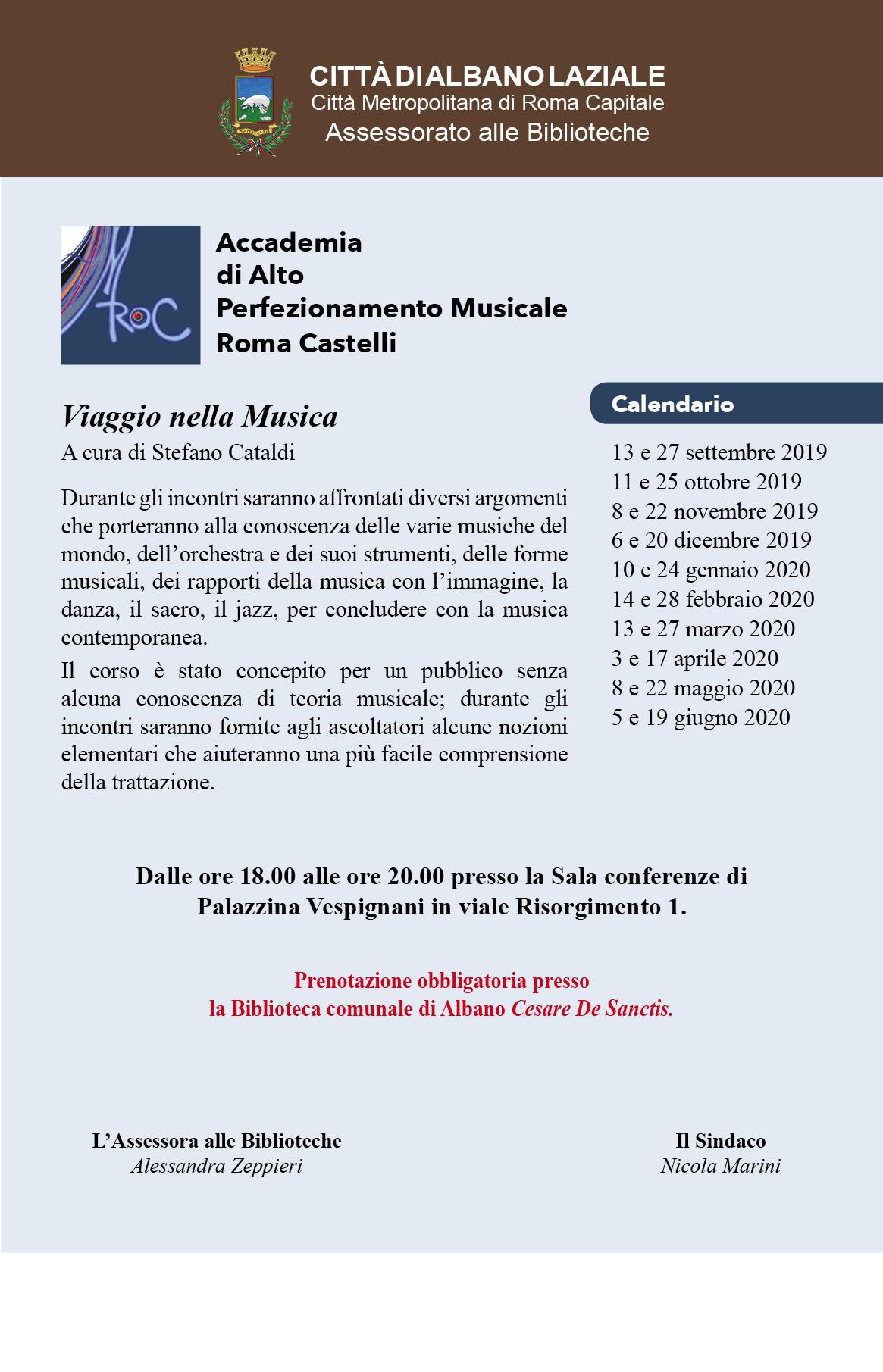 Calendario Allergie 2020.Accademia Di Alto Perfezionamento Musicale Roma Castelli